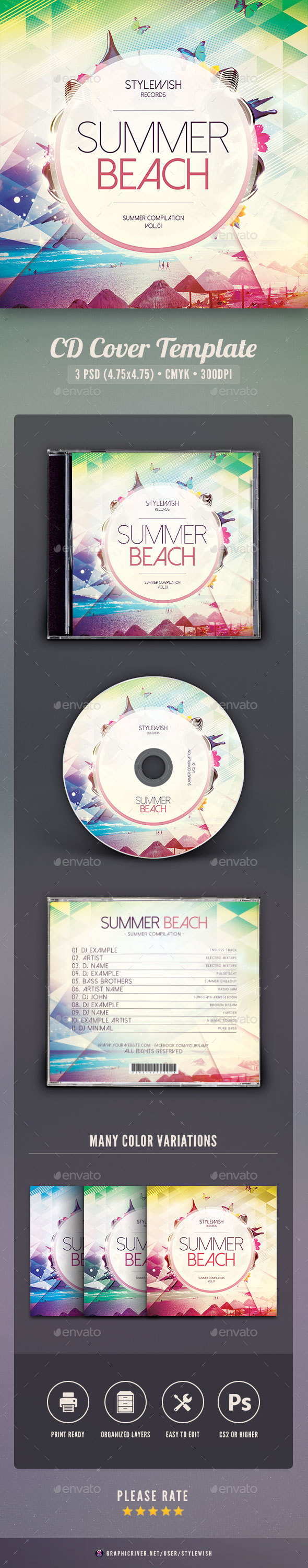 Summer Beach CD Cover Artwork - CD & DVD Artwork Print Templates