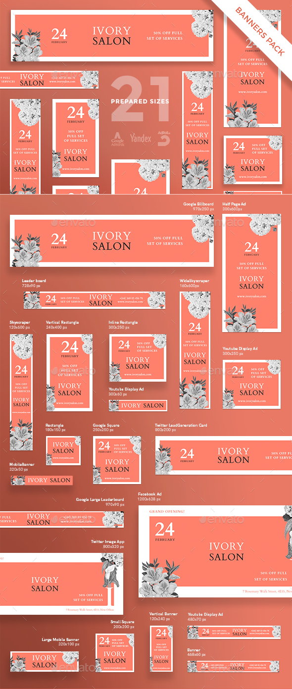 Ivory Beauty Salon Banner Pack - Banners & Ads Web Elements