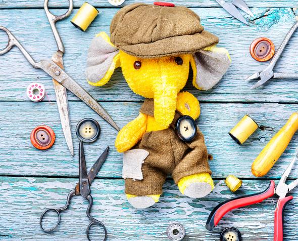 Handmade toy elephant - Stock Photo - Images