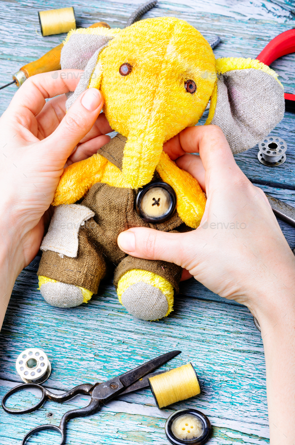 Handmade toy elephant - Stock Photo - Images