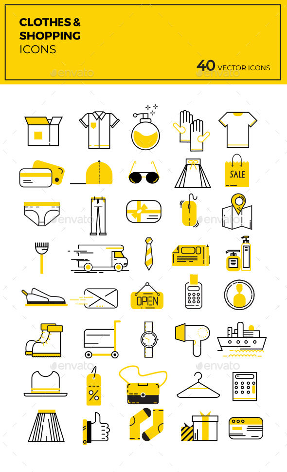 Clothes & Shopping Flat Vector Icons - Icons