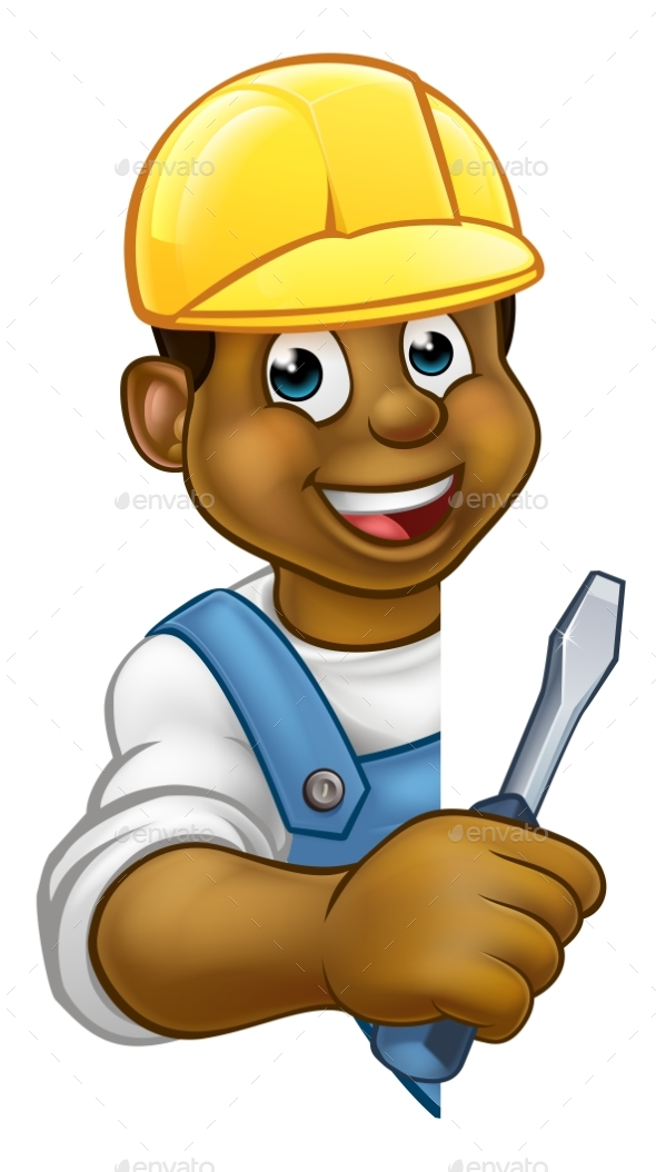 Builder Electrician Cartoon Character - People Characters