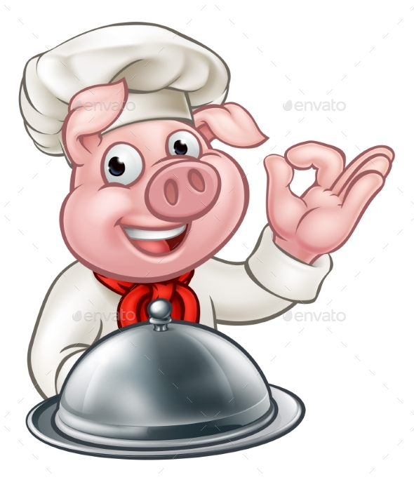 Cartoon Chef Pig Character Mascot - Food Objects