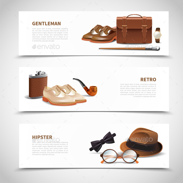 Gentleman Realistic Banners Set - Miscellaneous Vectors