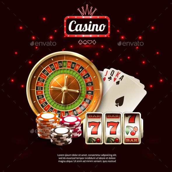 Glowing Casino Realistic Composition - Sports/Activity Conceptual