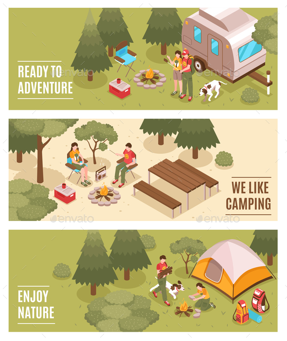 Camping Hiking Isometric Banners - Sports/Activity Conceptual