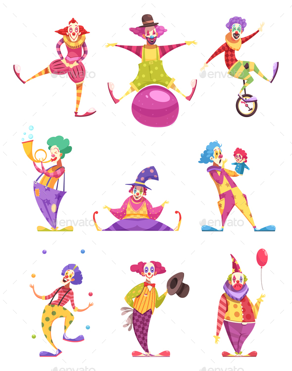 Clowns Icons Set - People Characters
