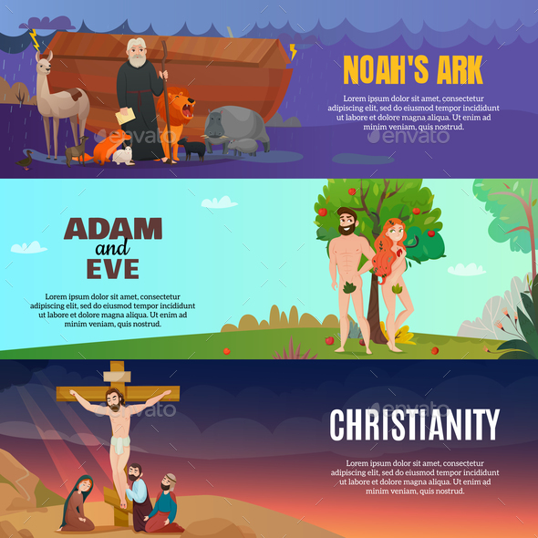 Bible Story Banners Set - Religion Conceptual