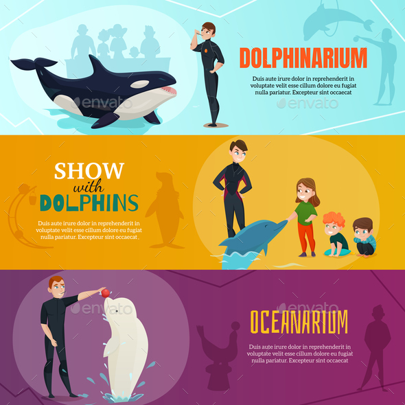 Dolphinarium Show Banners Set - Animals Characters