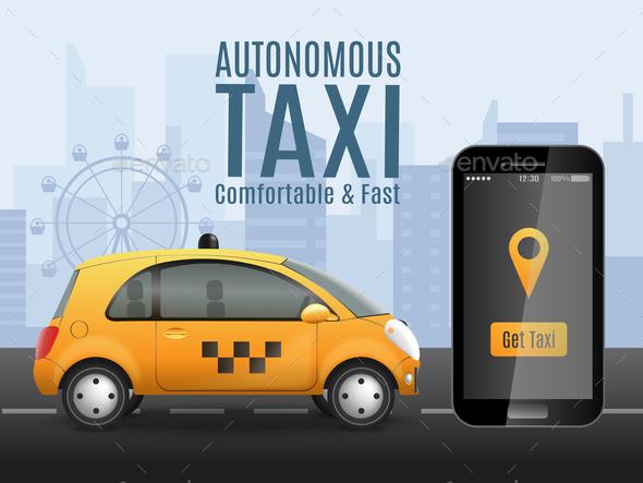 Future Taxi Conceptual Background - Miscellaneous Vectors