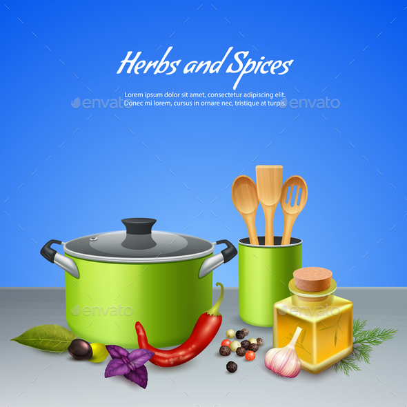 Herbs and Spices Background - Food Objects
