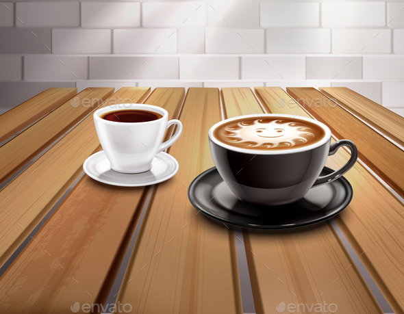 Espresso and Cappuccino Coffee Composition - Miscellaneous Vectors