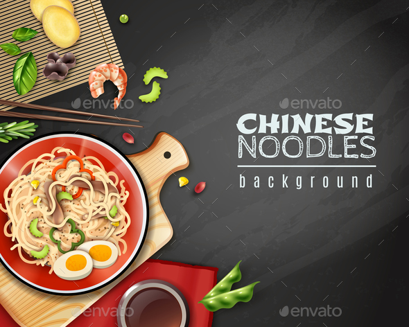 Realistic Chinese Noodles Background - Food Objects