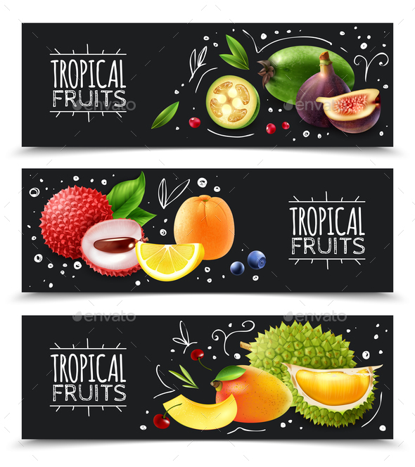 Tropical Fruits Horizontal Banners - Food Objects