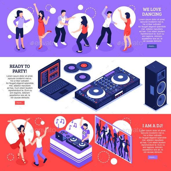 DJ Music Isometric Banners - People Characters