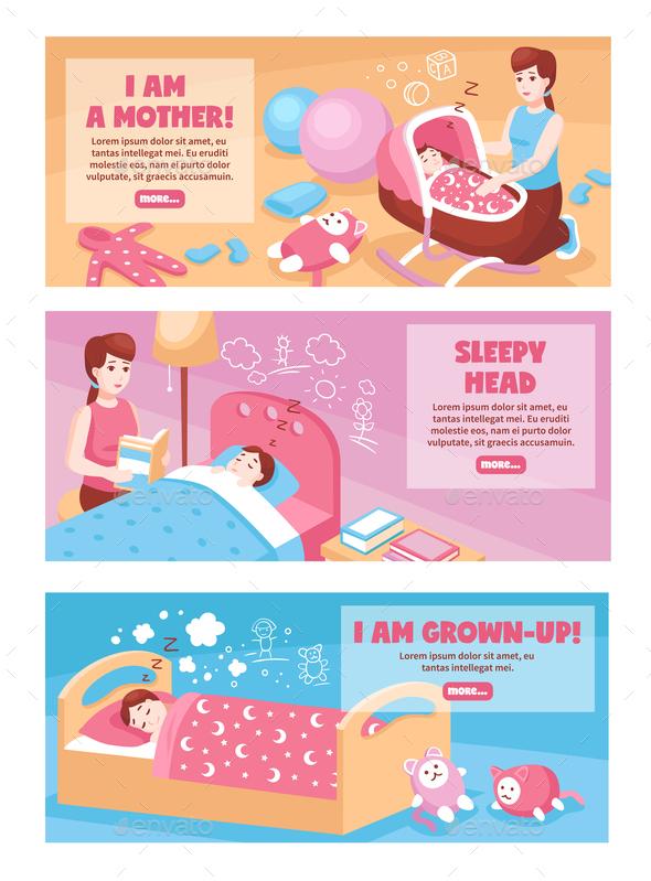 Baby Sleep Banners - People Characters