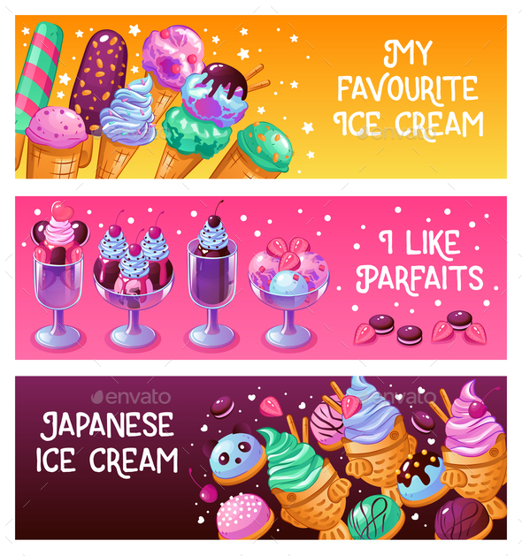 Ice Cream Banners - Food Objects