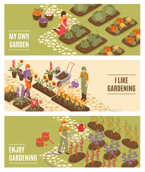 Gardening Isometric Banners Set - Flowers & Plants Nature