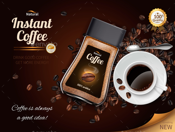 Instant Coffee Realistic Poster - Food Objects