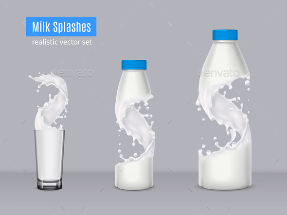 Milk Splashes Realistic Composition - Food Objects