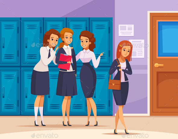 School Girls Bullying Composition - People Characters