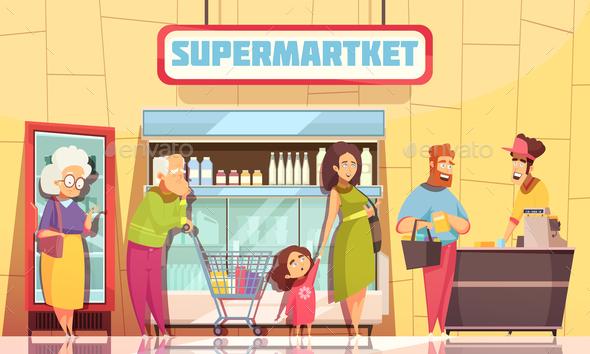 Queue People Supermarket - People Characters