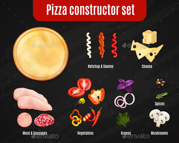 Pizza Constructor Realistic Set - Food Objects