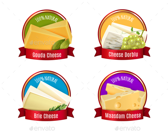 Realistic Cheese Labels Set - Food Objects