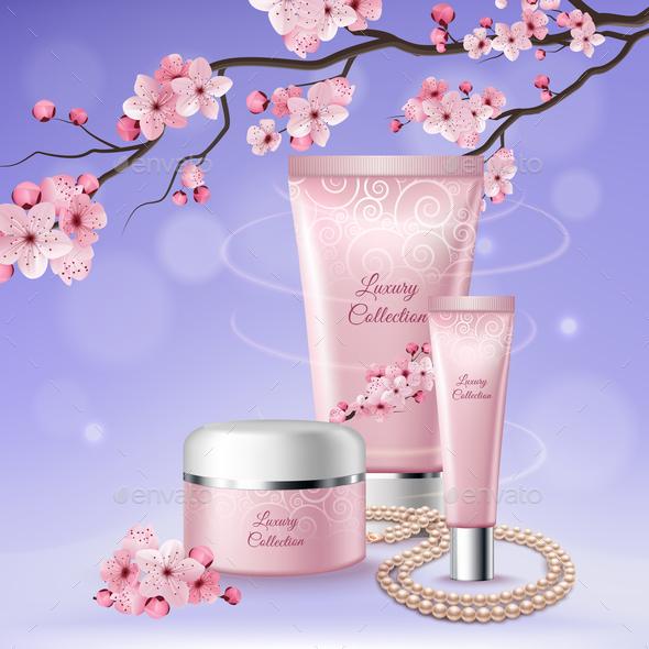 Sakura Tubes Of Cosmetics Composition - Miscellaneous Vectors