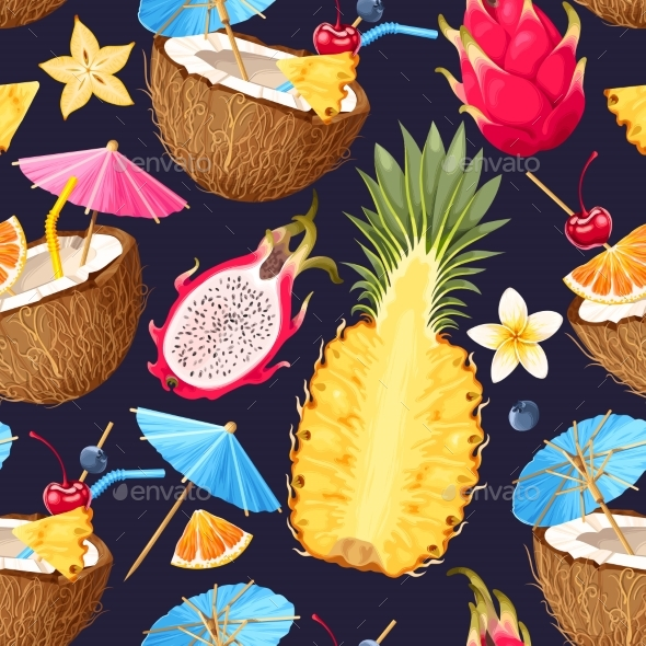 Summer Seamless Cocktail Background - Food Objects