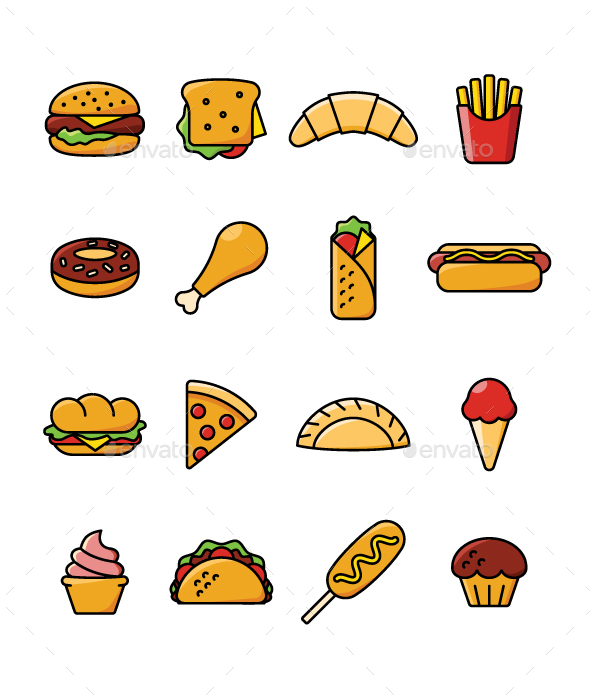 16 Fast Food Icons - Icons