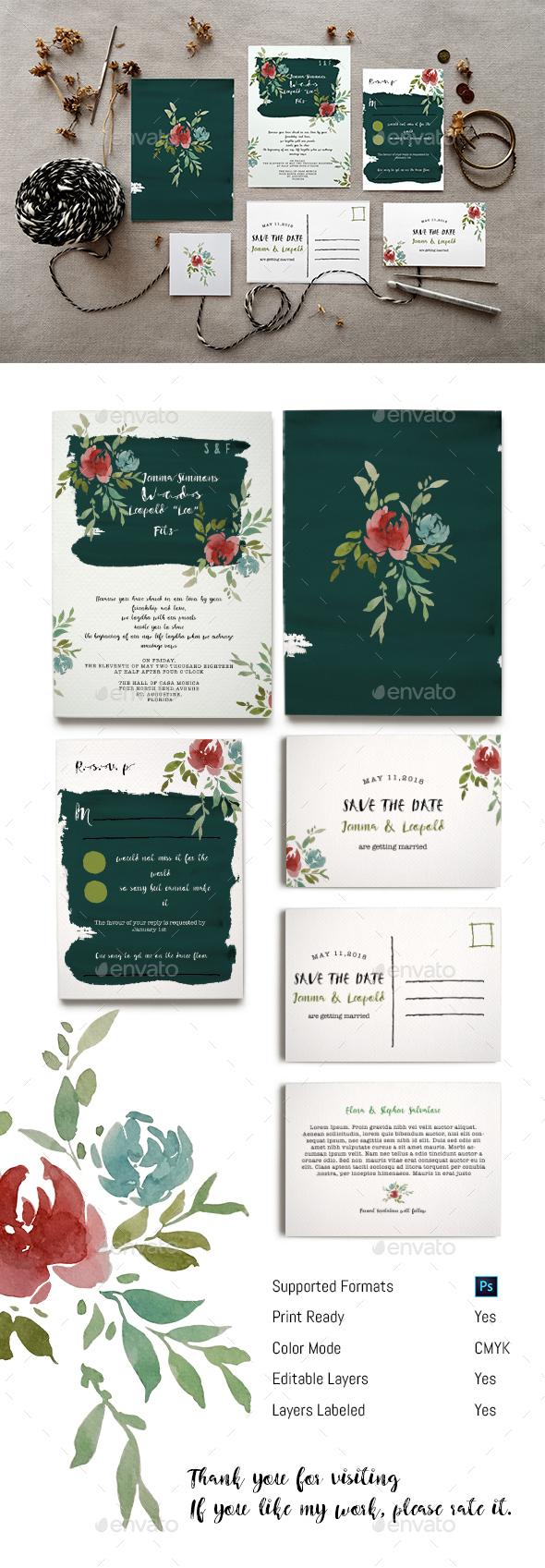 Watercolour Floral Wedding Invitation Set - Weddings Cards & Invites