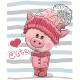 Cartoon Pig Girl in a Hat and Coat