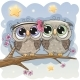 Owls Sitting on a Branch