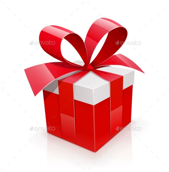 Gift Box with Red Bow - Man-made Objects Objects