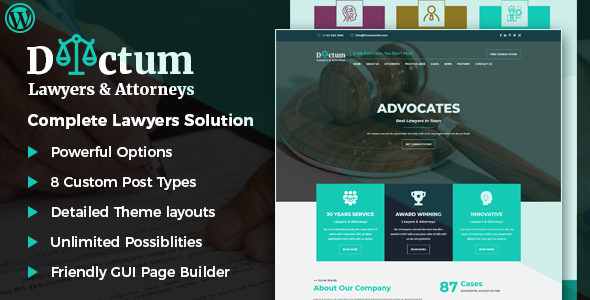 Dictum - Lawyers & Attorneys WordPress Theme Free Download | Nulled