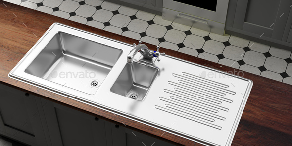 Kitchen cabinets with stainless steel sink and water tap, view from above. 3d illustration - Stock Photo - Images