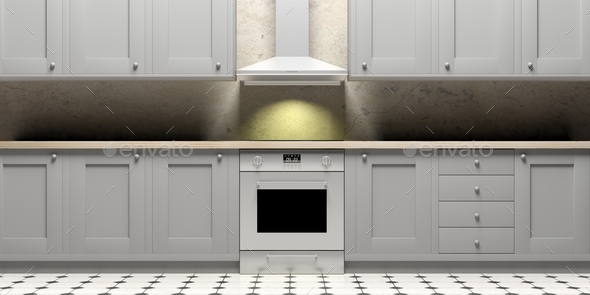 Kitchen Cabinets And Eletric Oven On Ceramic Tiles Floor Front View 3d Illustration