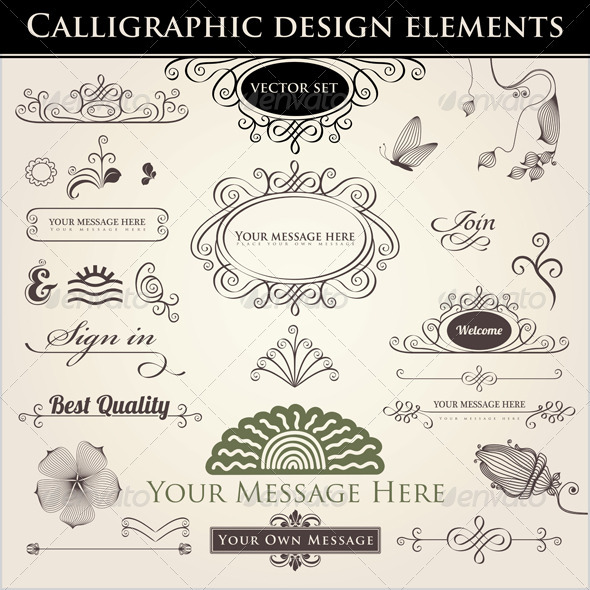 Calligraphic Design Elements - Decorative Symbols Decorative