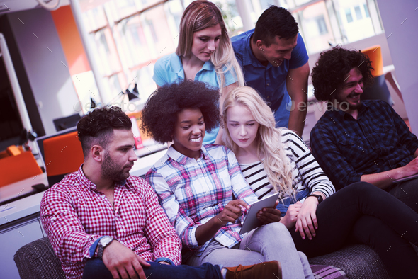 Multiethnic startup business team on meeting - Stock Photo - Images