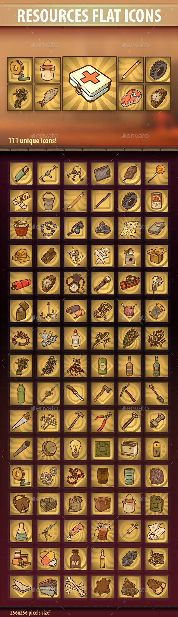 Resources Flat Icons - Miscellaneous Game Assets
