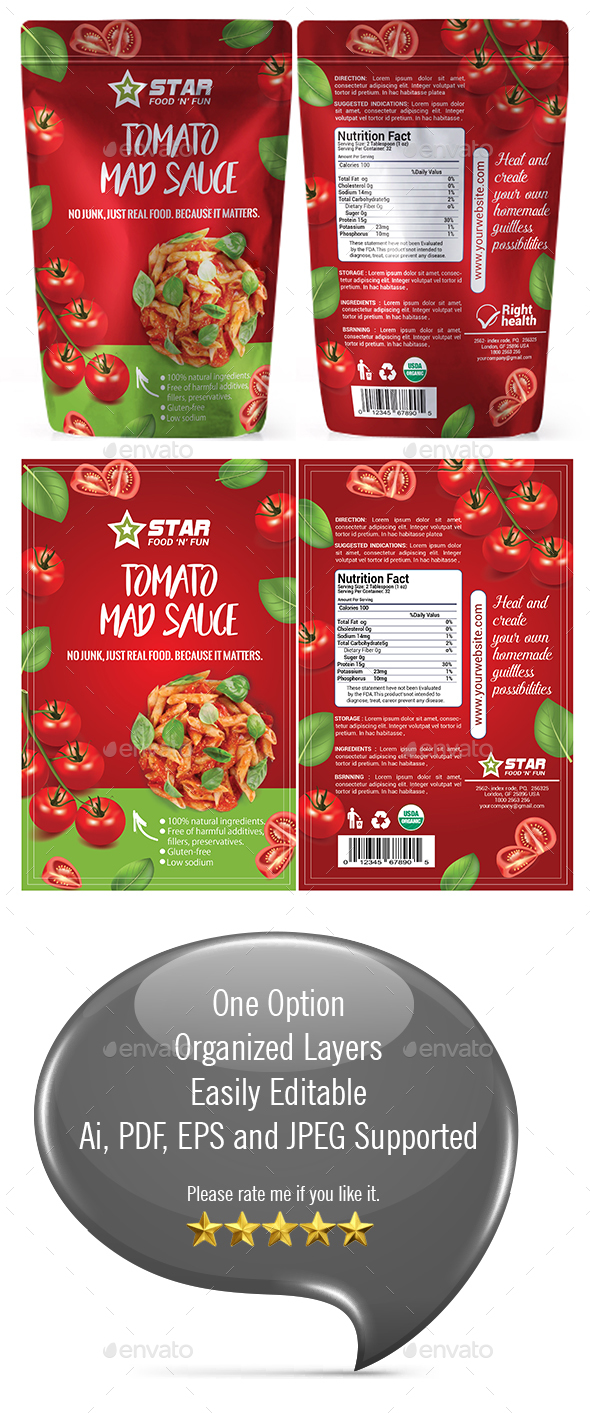 Tomato Sauce Packaging Template - Packaging Print Templates