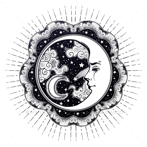 Frame with Crescent Moon Face, Stars and Clouds - Nature Conceptual