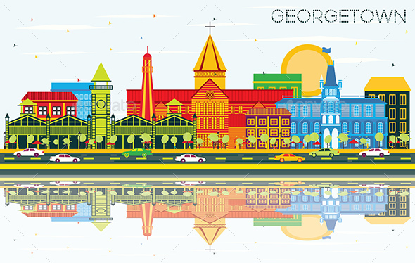 Georgetown City Skyline with Color Buildings, Blue Sky and Reflections - Buildings Objects