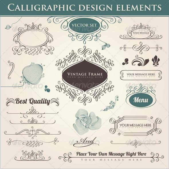 Calligraphic Design Elements - Decorative Symbols Decorative