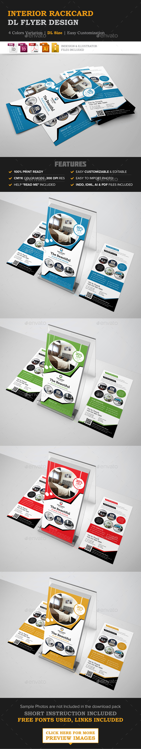 Interior Rack card DL Flyer Design Template - Corporate Flyers