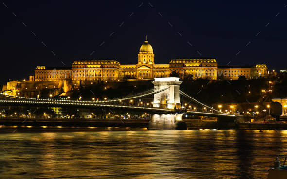 View on beautiful illuminated building in Budapest - Stock Photo - Images