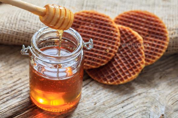 Crispy waffles and honey - Stock Photo - Images