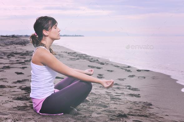 woman yoga beach - Stock Photo - Images