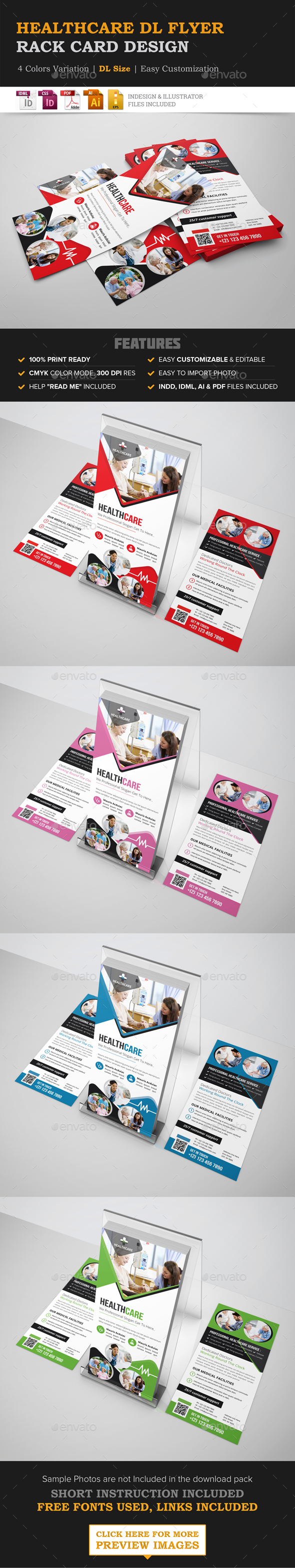 Healthcare Rack card DL Flyer Design Template - Corporate Flyers